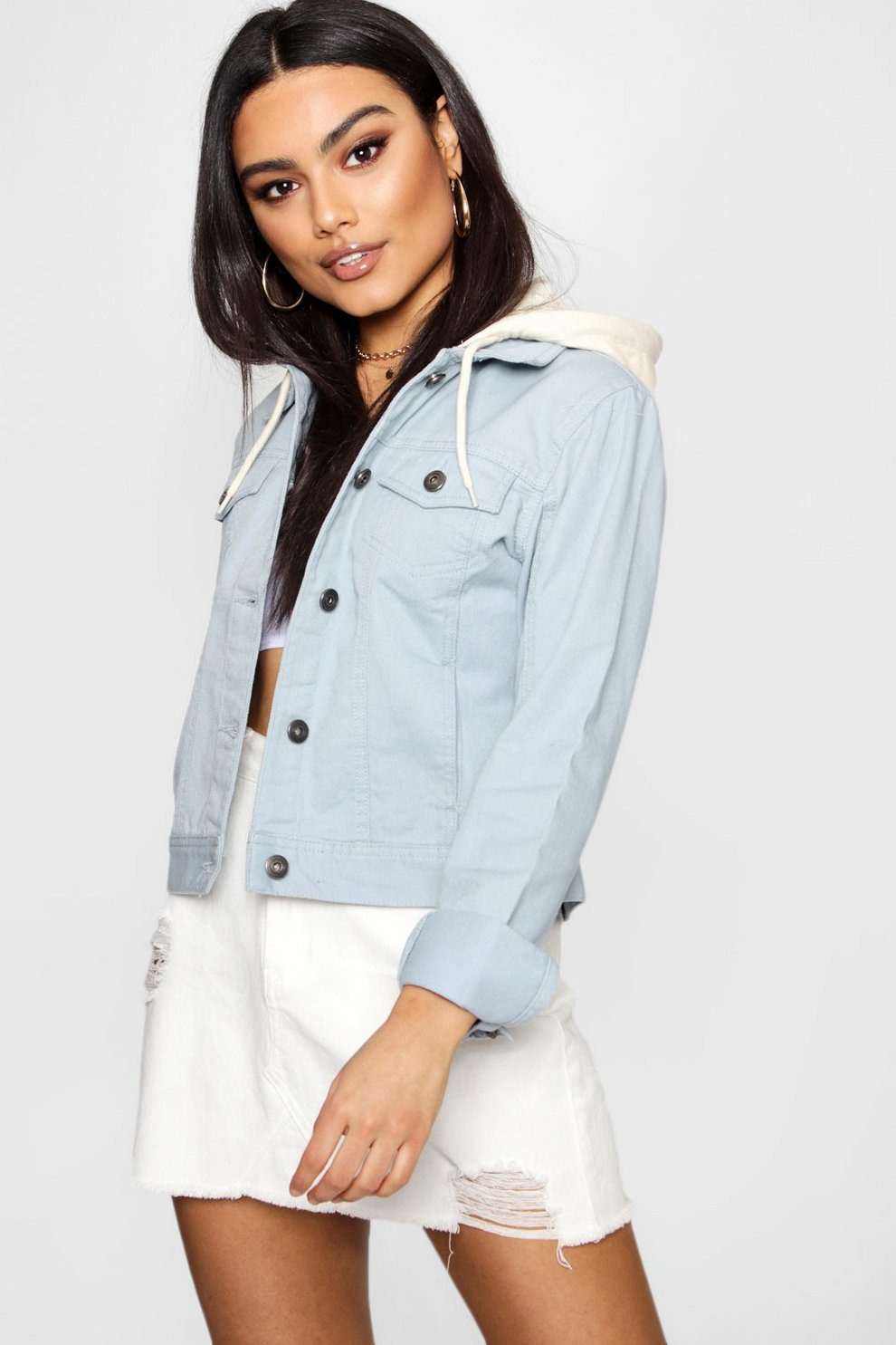 Boohoo Hooded Pastel Twill Jacket Reliable Sale Online JYIjzB