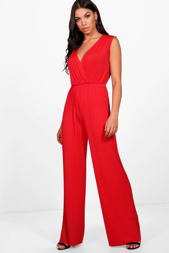 Rachel Pleated Plunge Jumpsuit