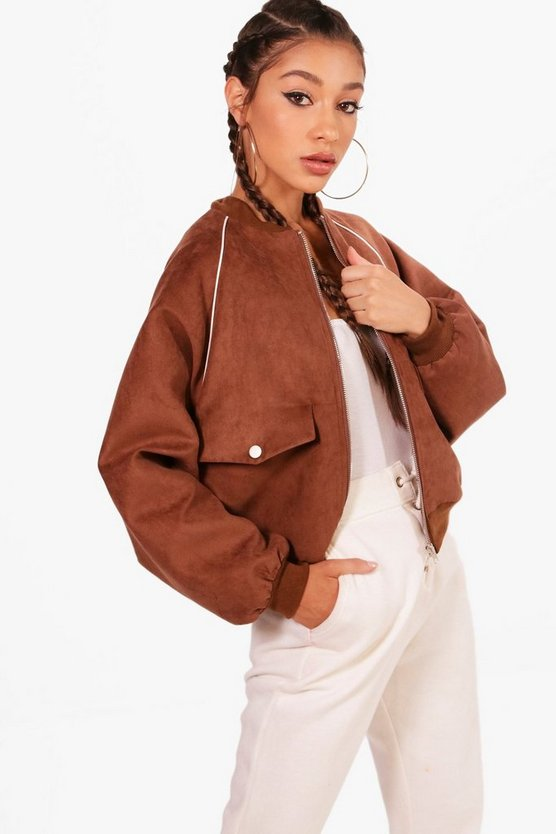Ashleigh Suede 80's Bomber Jacket
