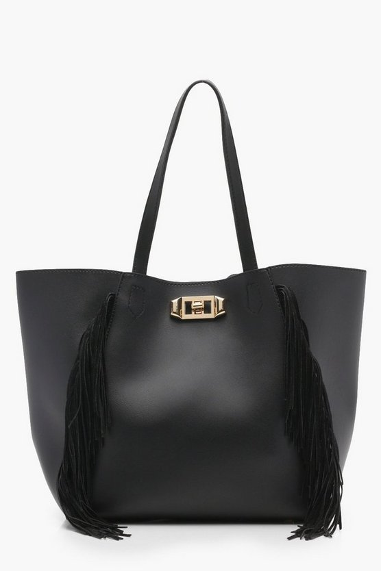 Olivia Fringe & Lock Shopper Bag