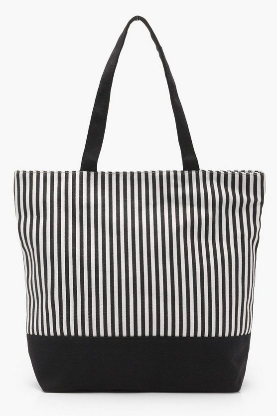 Mono Stripe Beach Bag