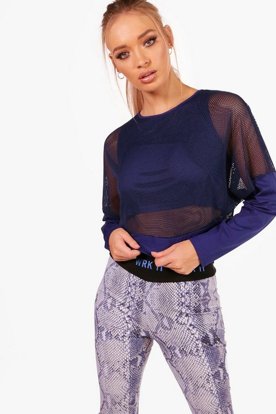 Hannah Athleisure Mesh Slash Neck Long Sleeve Top