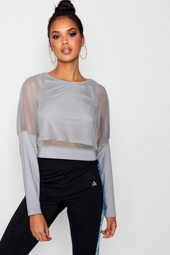 Fit Mesh Slash Neck Long Sleeve Top