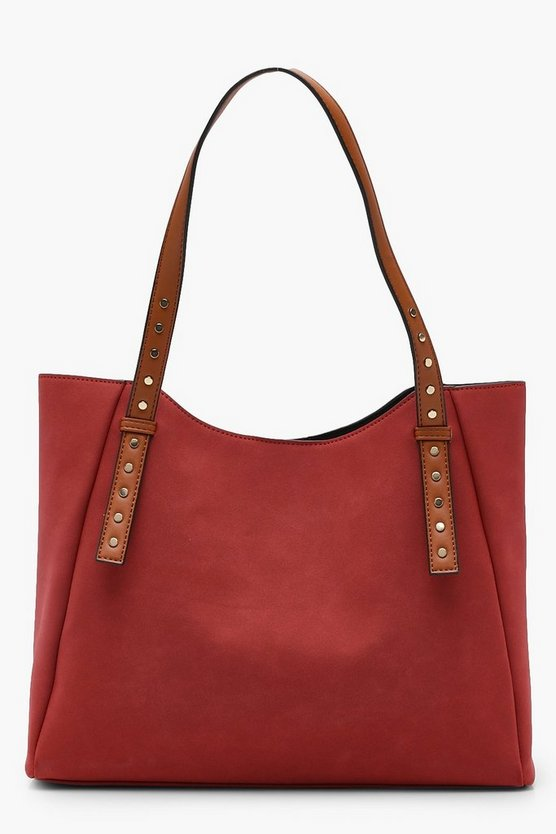 Contrast Handle Suedette Day Bag