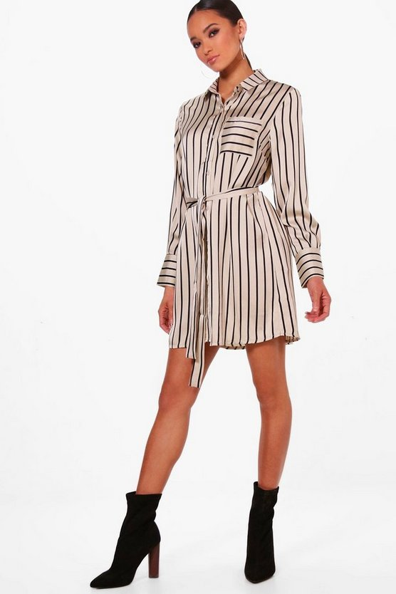 Sophie Striped Belted Shirt Dress