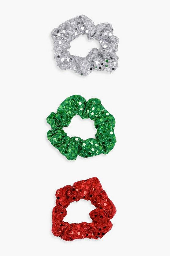 Erin Festive Sequin 3 Pack Scrunchies