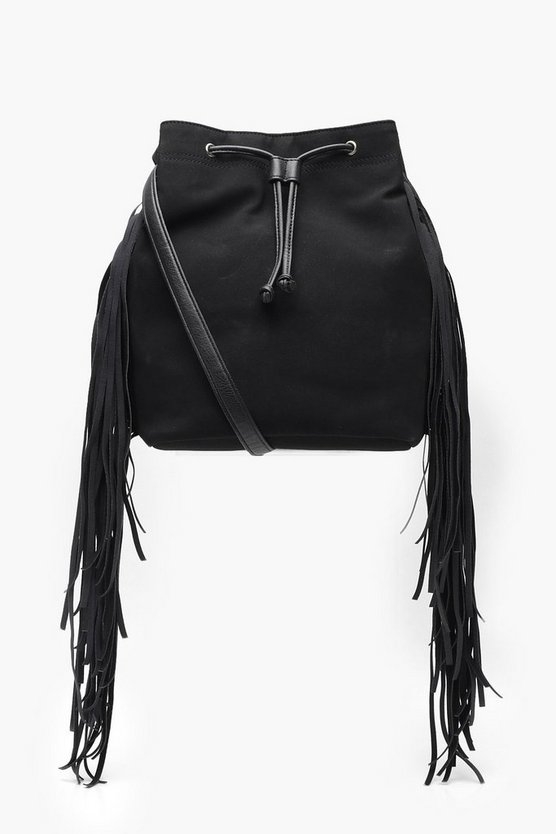 Suedette Fringe Bucket Bag