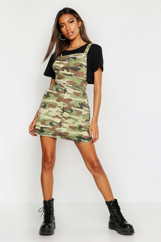Camo Print Denim Pinafore Dress
