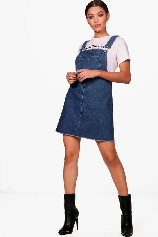 Peaches Drop Armhole Denim Pinafore Dress