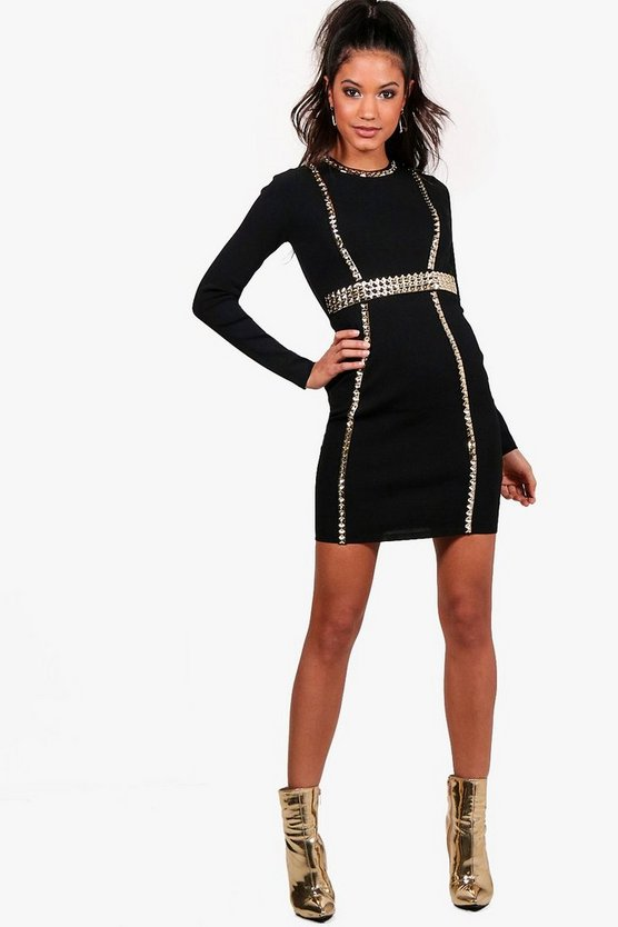 Boutique Fi  Studded Bandage Bodycon Dress