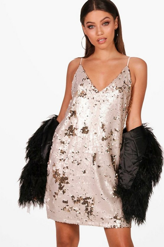 2 Tone Sequin Cami Dress