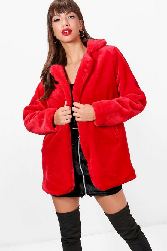Maddie Collared Faux Fur Coat