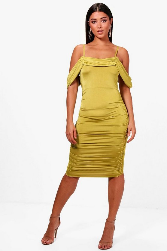 Off the Shoulder Ruched Midi Dress
