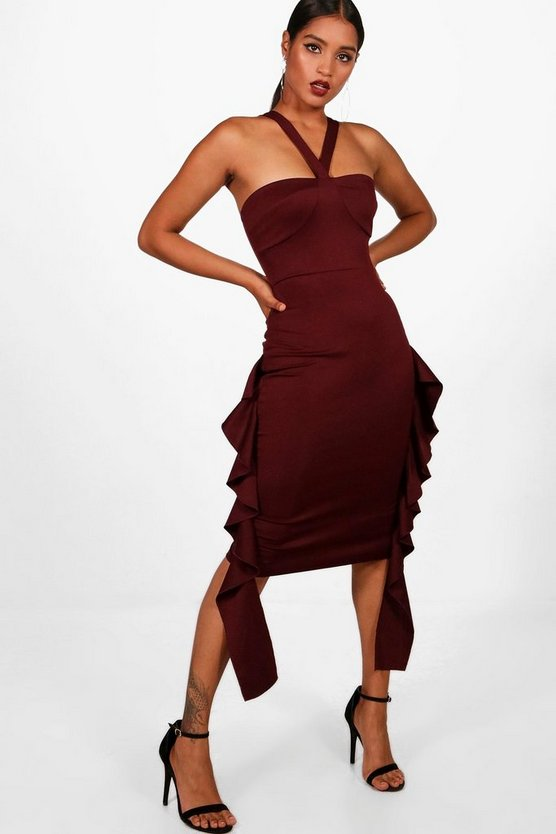 Eve Strappy Front Ruffle Side Midi Dress