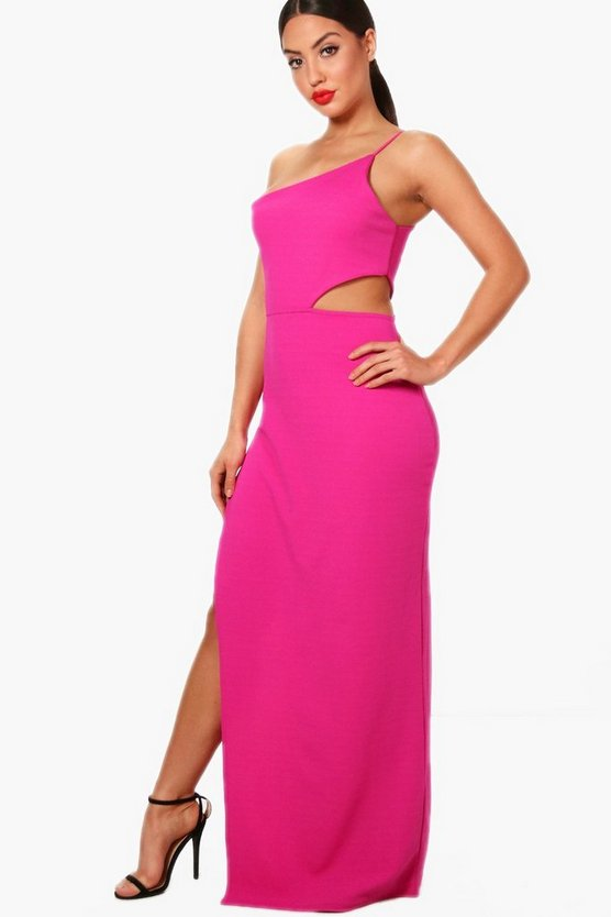 Di One Shoulder Cut Out Detail Split Maxi Dress