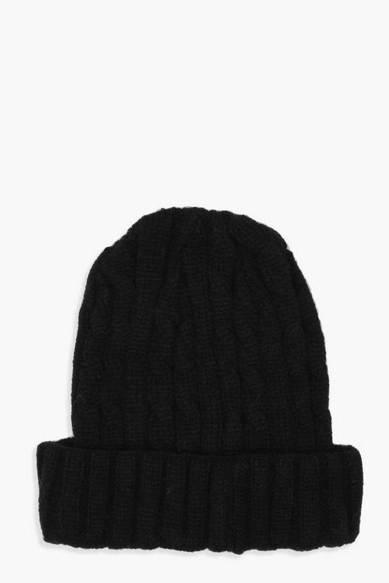 Jenny Cable Knit Turn Up Beanie