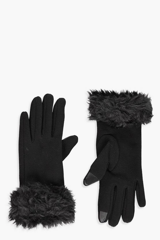 Helena Faux Fur Touch Screen Ponte Gloves