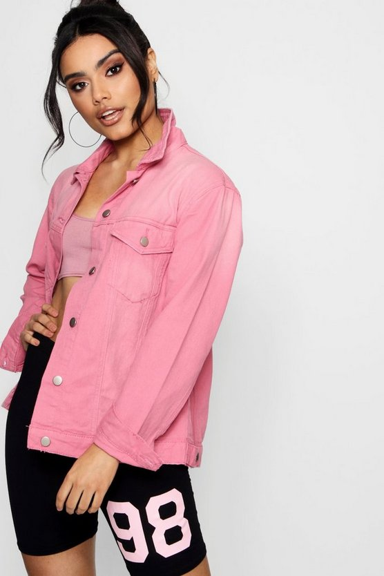 Dusky Pink Distressed Denim Boyfriend Jacket