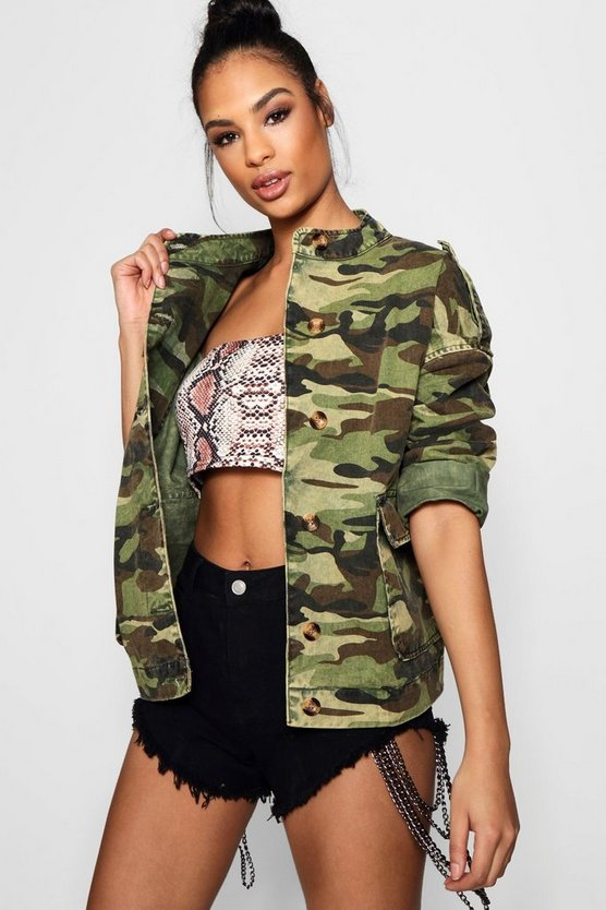 Oversized Acid Wash Camo Denim Jacket