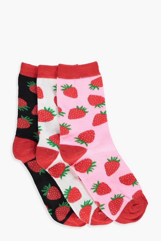 Ivy Strawberry Print 3 Pack Ankle Socks