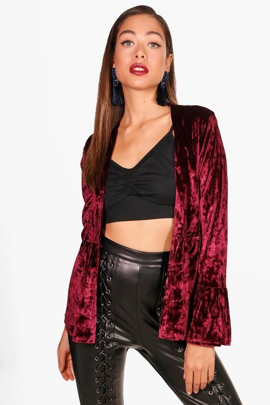 Amy Flute Sleeve Crushed Velvet Duster