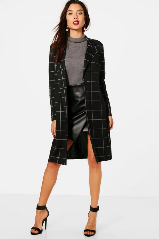 Megan Grid Check Duster