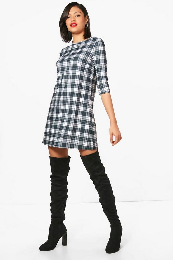 Ava Monochrome Check 3/4 Sleeve Shift Dress