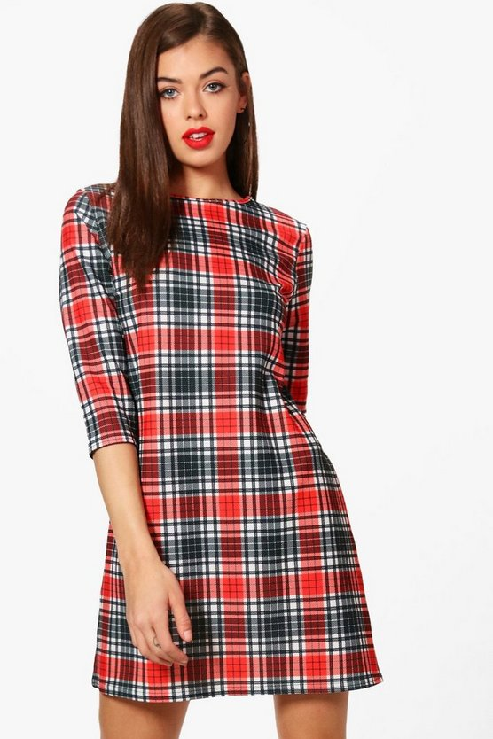 Kenna Bold Check 3/4 Sleeve Shift Dress