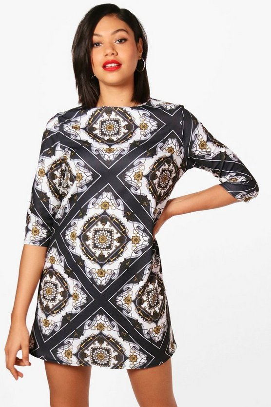 Chain Print 3/4 Sleeve Shift Dress