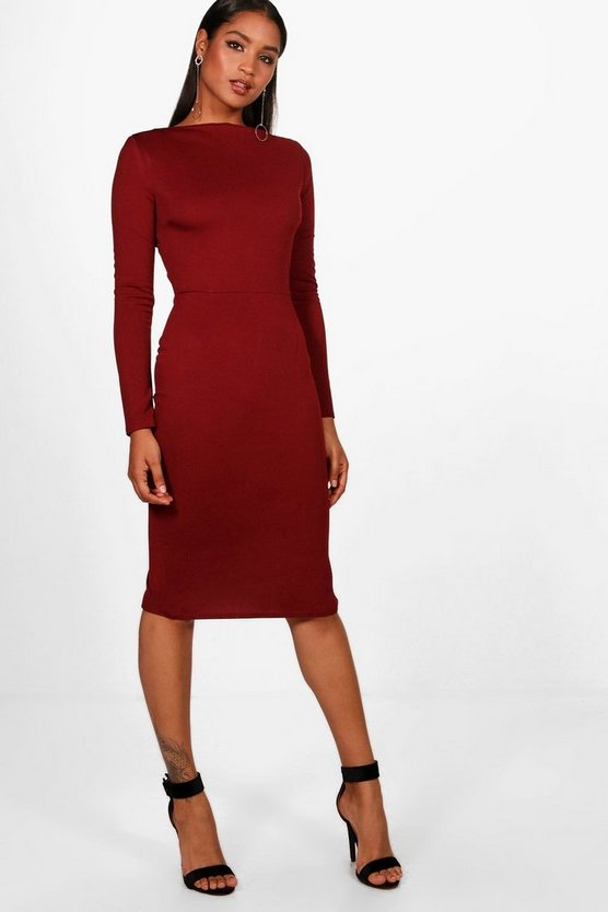 Emma Long Sleeve Wide Neck Midi Dress