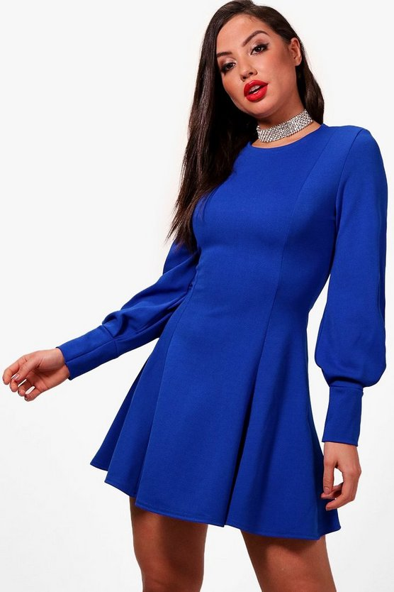 Lara Blouson Sleeve Seam Detail Skater Dress