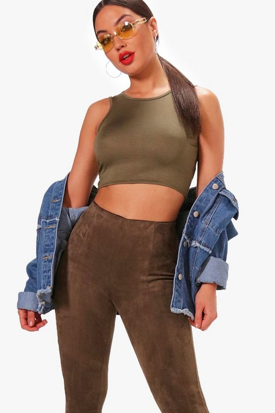 Pheobe Basic Rib Racer Front Crop Top