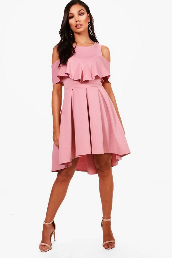 Zandra Cold Shoulder Full Skater Dress