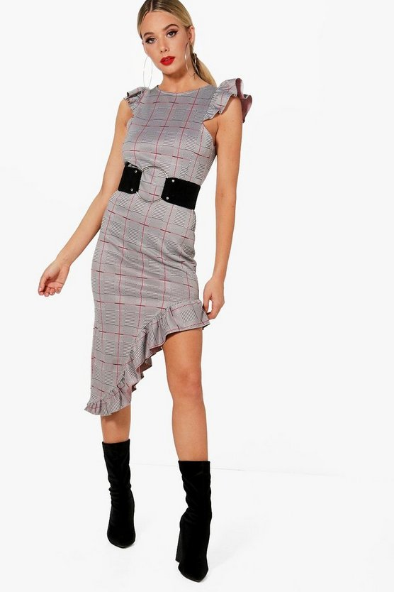 Micro Frill Check Midi Dress