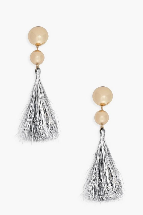 Ivy Ball Drop Tinsel Tassel Earrings