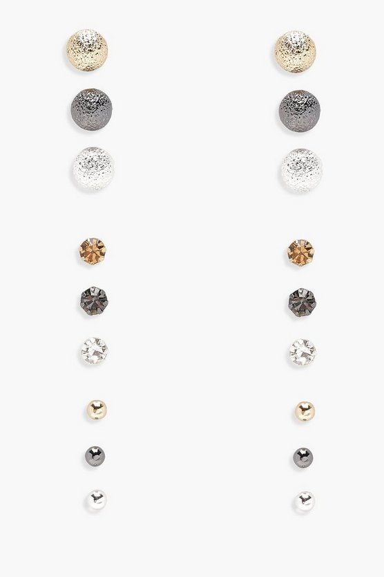 Mia Simple Mixed Studs 9 Pair Pack