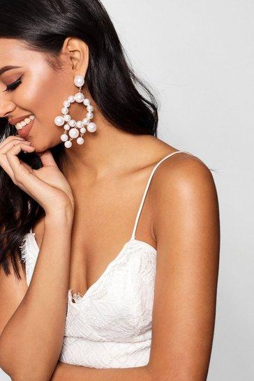 Cream Statement Pearl Earrings