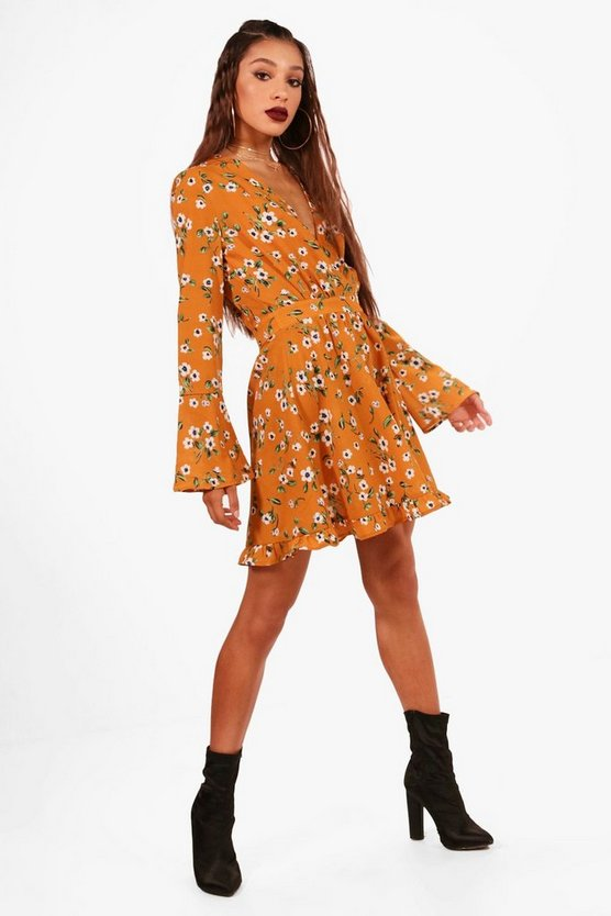 Floral V Neck Flared Sleeve Swing Dress