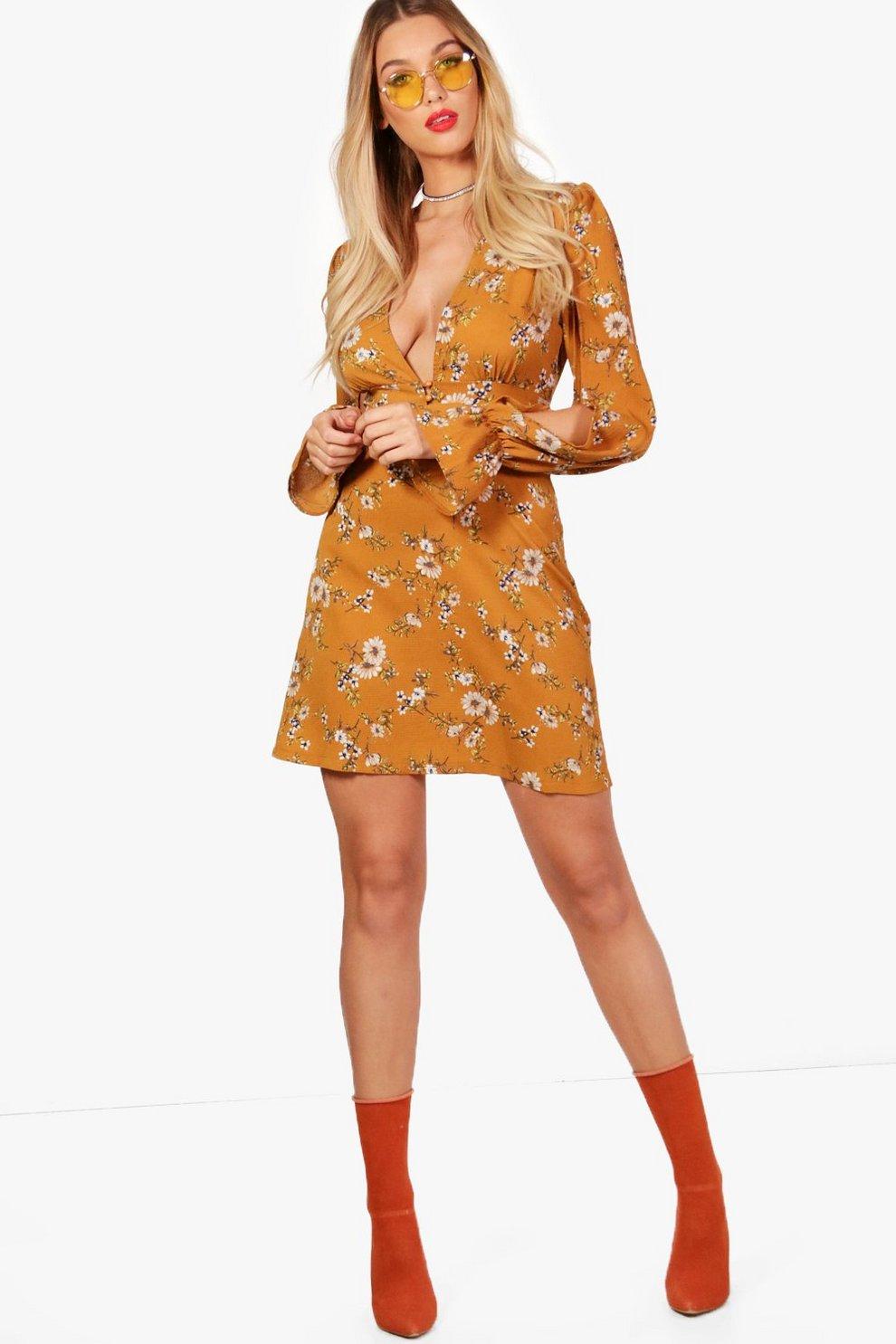 Boohoo Floral Split Sleeve Swing Dress Shop j1O4cc