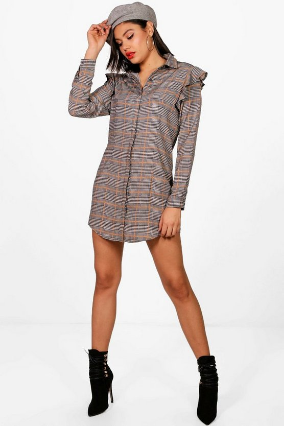 Melanie Check Ruffle Shirt Dress