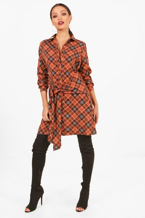 Checked Waist Detail Shirt Dress