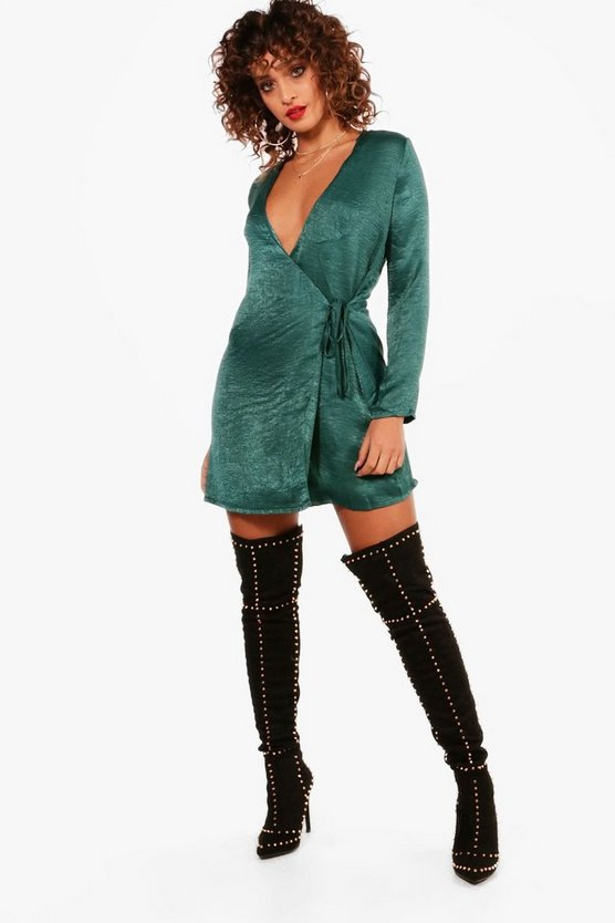 Ivy Satin Wrap Shift Dress