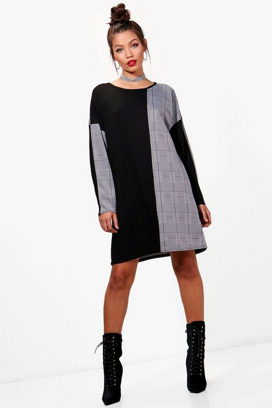 Lorena Mixed Print Check T-Shirt Dress