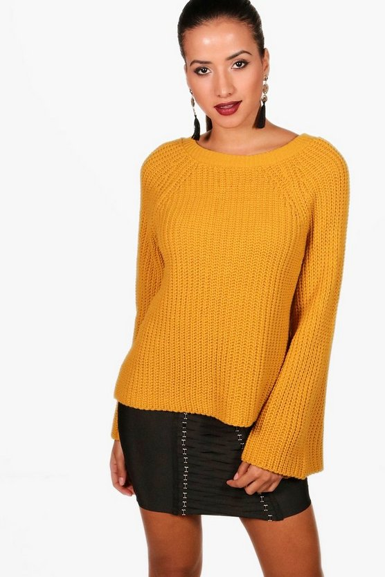 Daisy Wide Sleeve V-Neck Jumper