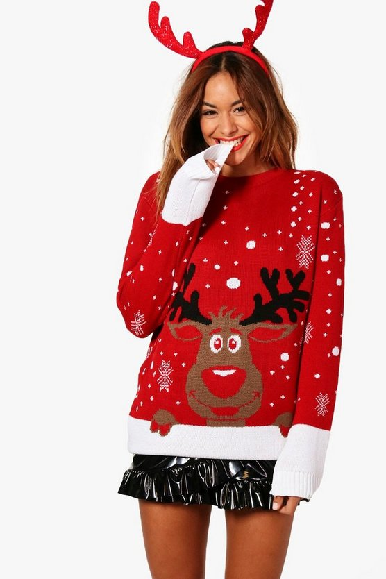 Lily Reindeer Nose Christmas Jumper