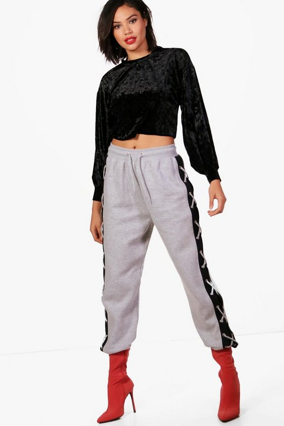 Larsa Eyelet Lace Up Contrast Sweat Joggers