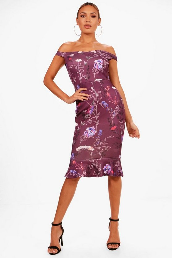 Afia Off the Shoulder Frill Hem Floral Midi Dress