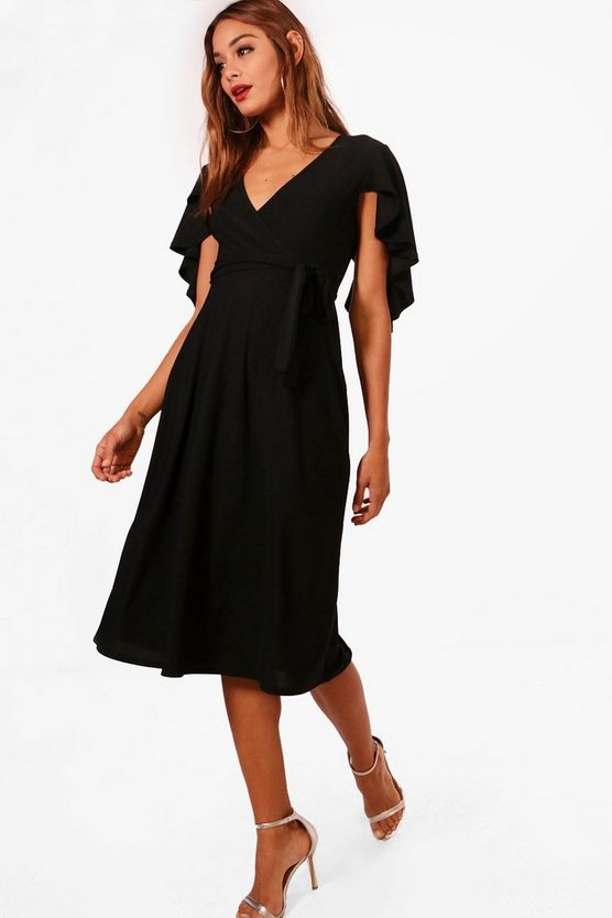 Sleeve Wrap Fornt Skater Dress