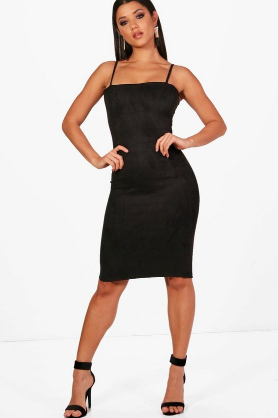 Suedette Square Neck Midi Dress