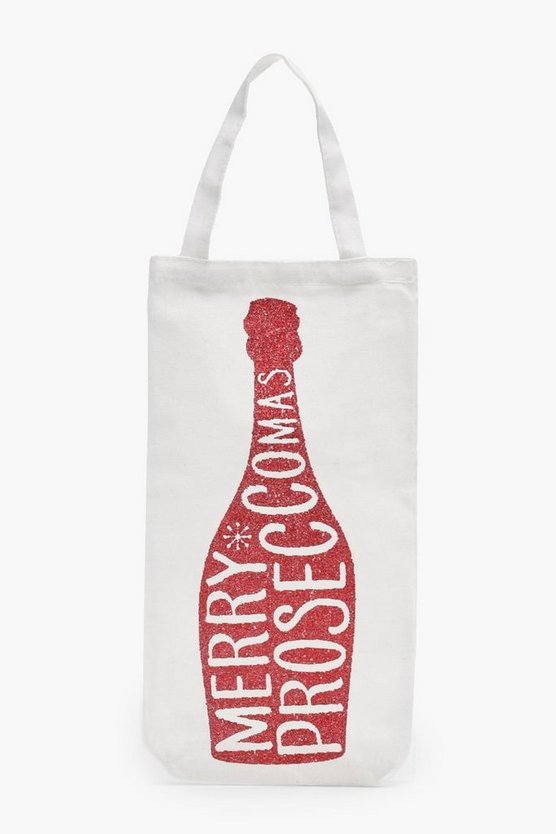 Red Glitter Merry Proseccomas Bottle Bag